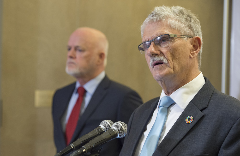 The Co-Chairs of the UN Summit for Refugees and Migrants -- Mogens Lykketoft (right), President of the seventieth session of the General Assembly; and Peter Thomson, President of the Assembly's seventy-first session brief journalists prior to the opening of the Summit.