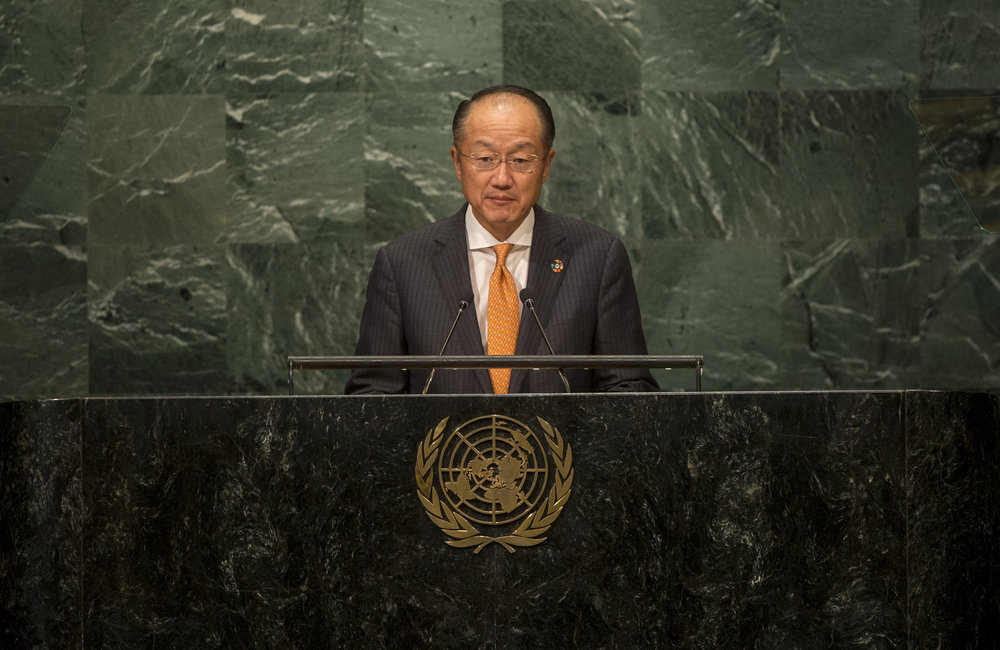Jim Yong Kim, President of the World Bank Group, addresses the opening segment of the United Nations high-level summit on large movements of refugees and migrants.