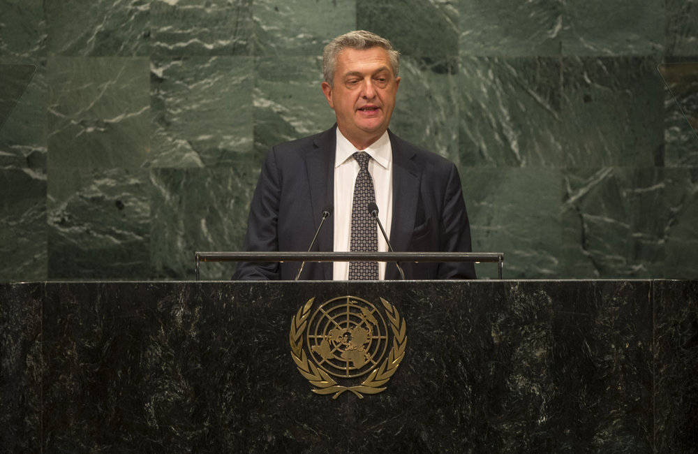 Filippo Grandi, UN High Commissioner for Refugees, addresses the opening segment of the United Nations high-level summit on large movements of refugees and migrants.