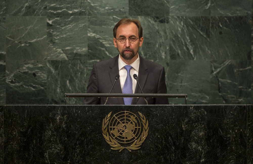Zeid Ra'ad Al Hussein, UN High Commissioner for Human Rights, addresses the opening segment of the United Nations high-level summit on large movements of refugees and migrants.