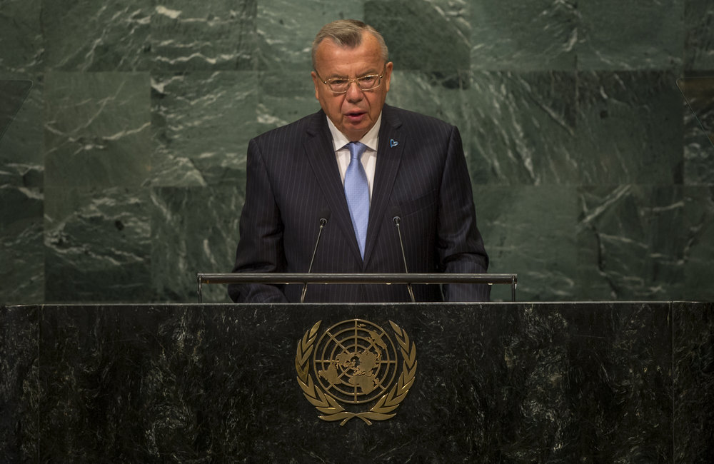 Yury Fedotov, Executive Director of the UN Office on Drugs and Crime (UNODC), addresses the opening segment of the United Nations high-level summit on large movements of refugees and migrants
