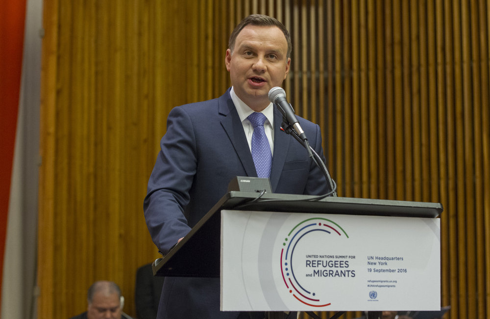 Andrzej Duda, President of the Republic of Poland, addresses the United Nations high-level summit on large movements of refugees and migrants.
