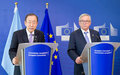 In Brussels, Ban urges joint efforts against terrorism and in addressing displacement